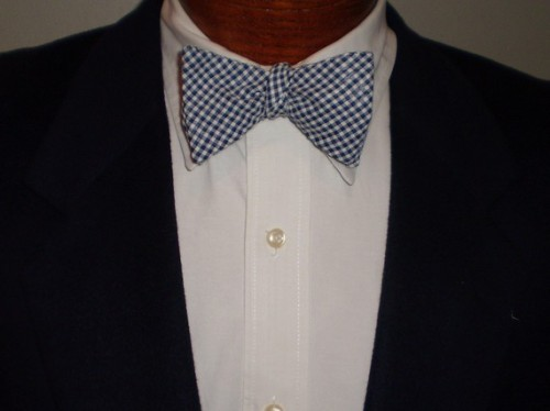 Barry Beaux Navy Gingham Bow Tie