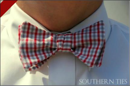 Southern Ties Maroon and Gray Gingham Bow Tie