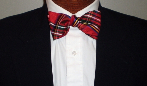 Barry Beaux Red Silk Plaid Bow Tie