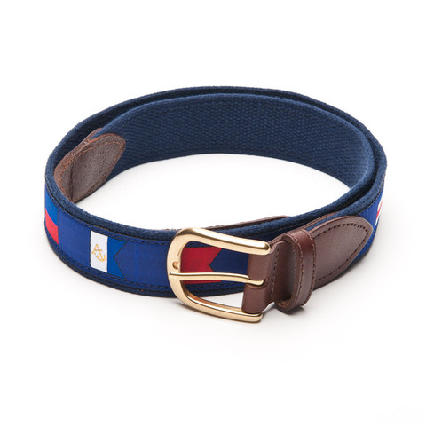 Anchored Style Signal Flags Leather Tab Belt