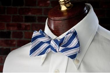 High Cotton Ties Blue Spinnaker Stripe Bow Tie