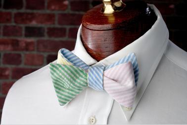 High Cotton Ties Seersucker Four Way Bow Tie