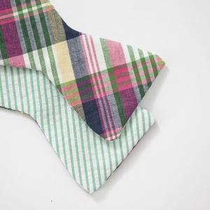 The Cordial Churchman Channing Madras and Seersucker Reversible Bow Tie