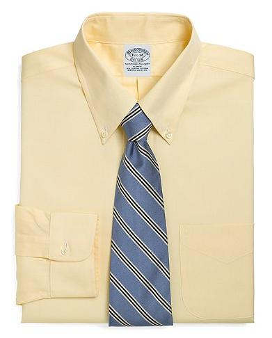 Brooks Brothers Classic All-Cotton Slim Fit Original Polo® Button-Down Dress Shirt Yellow