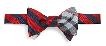 Social Primer Reversible Bow Tie BB#4 Repp Stripe and Madras Patch