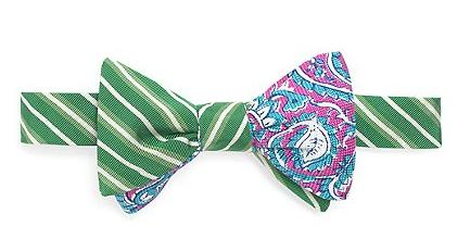 Social Primer Reversible Bow Tie Mogador Tonal Stripe and Two-Tone Paisley