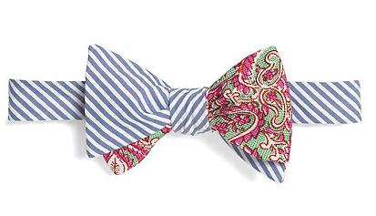 Social Primer Reversible Bow Tie Seersucker Stripe and Two-Tone Paisley Print