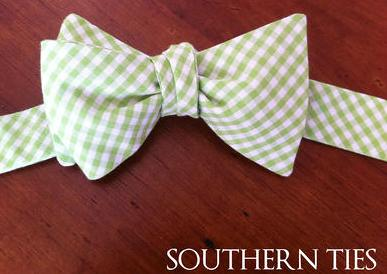 Southern Ties Lime Green and White Gingham Bow Tie
