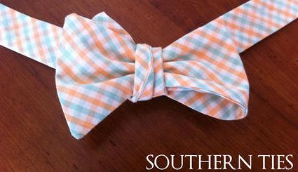 Southern Ties Orange Aqua and White Gingham Bow Tie