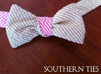 Southern Ties Pink and Green Seersucker Bow Tie