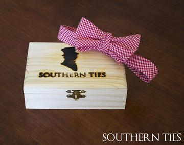Southern Ties Red and White Gingham Bow Tie