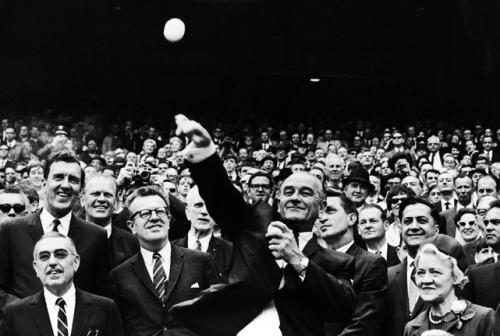 Lyndon B Johnson 1967 First Pitch