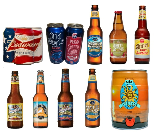 Budweiser, Old Style, Sam Adams Summer Ale, Abita Strawberry, Leinenkugel Summer Shandy, Shiner Ruby Redbird, Goose Island Summertime, Leinenkugel Sunset Wheat, Sam Adams Coastal Wheat, Oberon