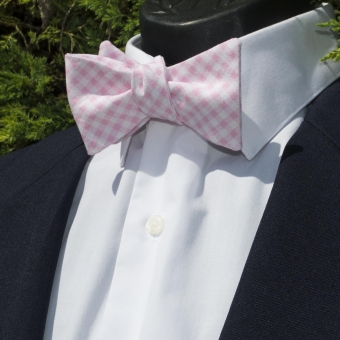 Luxley and Bernard Bubblegum Check Bow Tie