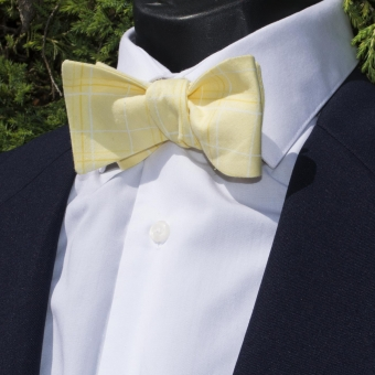 Luxley and Bernard Yellow Squares Bow Tie