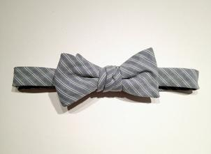 Mast-McBride Navy and Green Stripe Oxford Bow Tie