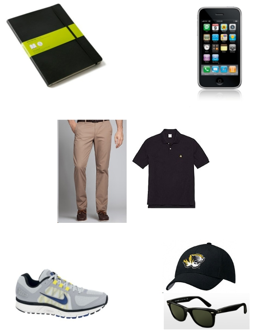 Travel Essentials Moleskine Notebook iPhone Bonobos Khakis Brooks Brothers Polo Nike Zoom Volero Missouri Hat Ray-Ban Wayfarers