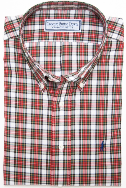 Concord Button Downs Old Manse Plaid Shirt Red New England