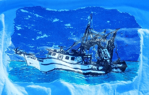 Gulf Shore Spare Time T-Shirt Back Close Up Shrimp Boat