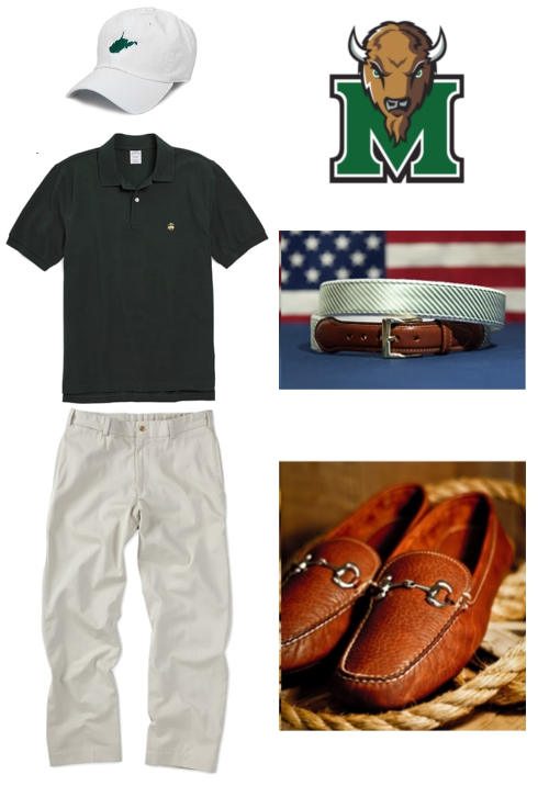 Marshall Battle for the Bell College Football Thundering Herd State Traditions Bill's Khakis Brooks Brothers Collared Greens Buffalo Jackson How to Dress for