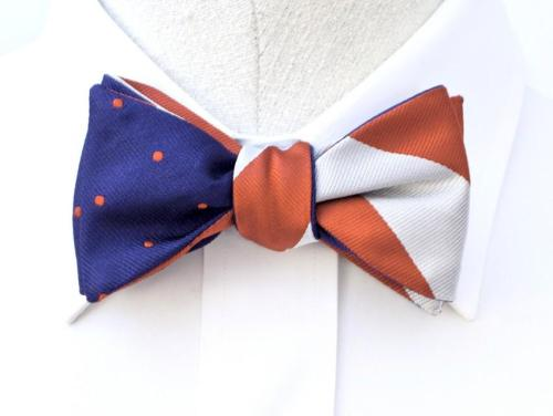 Social Primer by K. Cooper Ray 1st Edition Reversible Bow Tie Orange White Stripes Dots